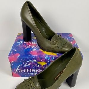 Size 7.5M Chinese Laundry Courtney Army Green Heel